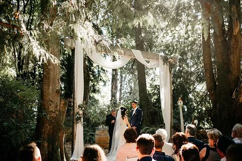 Twin Willow Gardens features an incredible ceremony arbor between cedar trees. We draped ivory fabric over the arbor and used blush florals and greenery to accent. | Photo by Tonie Christine Photography