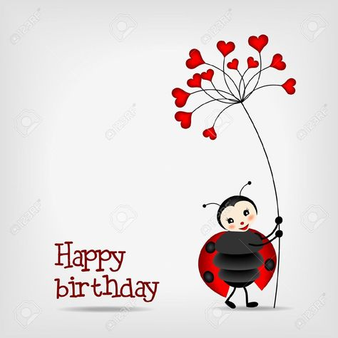 Cute Ladybug With Red Flower, Birthday Card - Vector Illustration ...