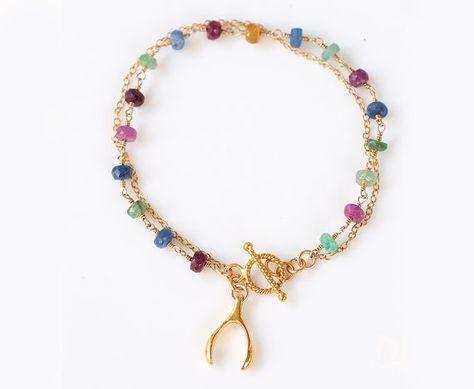 Charm Bracelet - Gold Wishbone Charm - Friendship Bracelet - Wire wrapped Toggle Bracelet - Layering Bracelet - Gift for her