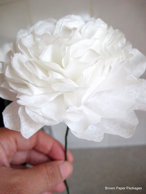 peonies from coffee filters - inexpensive decorating for the girl's room