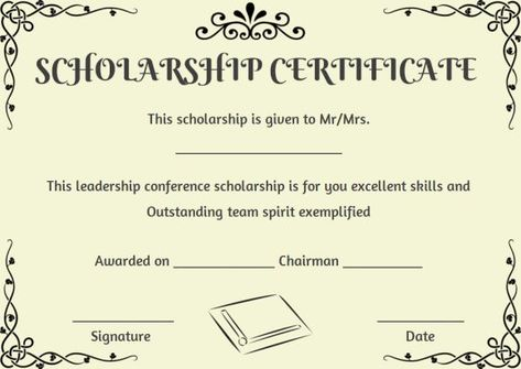 Printable Scholarship Certificate