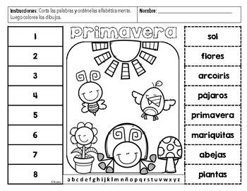 Spring Abc Order Activities In English And Spanish Perfect For A Dual Language Classroom Feedback And Abc Order Abc Order Activities Classroom Language