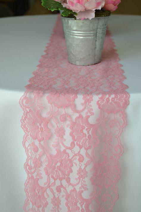 10 Yard Roll Pink Rose Lace 7 Wide Lace Trim / by LolaAndBea