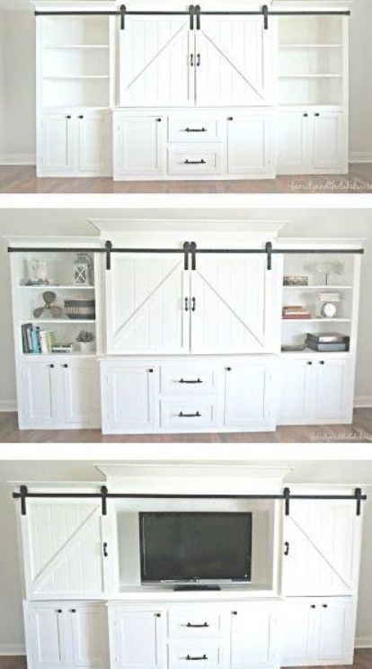 Rustic And Neutral White Sliding Barn Door Entertainment Center New Homes Home Home Remodeling