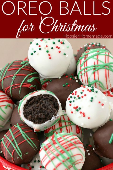 Oreo Balls For Christmas Make These Oreo Balls For Your Cookie Exchange Trays, Give As Gifts Or Enjoy At Home Easy Christmas Treats, Christmas Deserts, Christmas Cookie Exchange, Holiday Treats, Food Gifts For Christmas, Christmas Christmas, Christmas Cake Pops, Christmas Drinks, Homemade Christmas Cookie Recipes