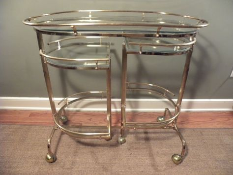 Really Unique Vintage Mid Century Fold Out Bar Tea Beverage Service Cart Glass Bar Cart Cool Shelves Drinking Tea