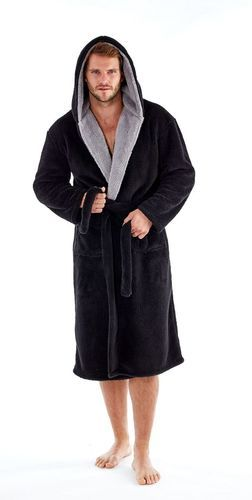 Mens Supersoft Hooded Shaggy Fleece Bathrobe Dressing Gown