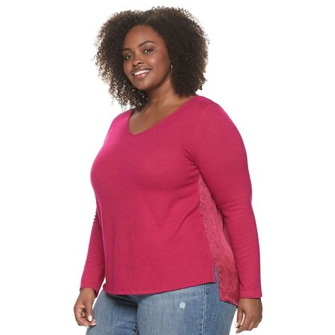 Photo of Plus Size EVRI Mixed Media Top, Women's, Size: 4XL, Dark Pink