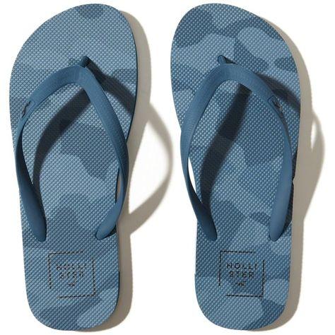 d729becf74681 Hollister Logo Flip Flops ($16) ❤ liked on Polyvore featuring men's fashion,  men's shoes, men's sandals, men's flip flops, blue camo, mens camo flip  flops, ...