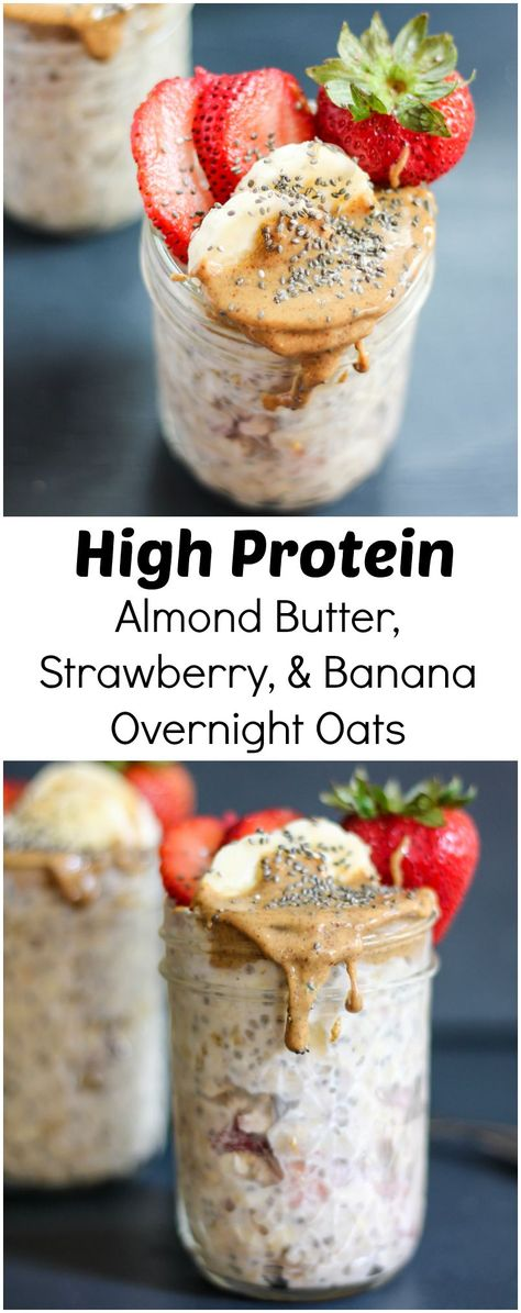 Almond Butter, Strawberry & Banana Overnight Oats with chia seeds. This is a great make-ahead protein-packed breakfast that will absolutely keep you full until lunch.