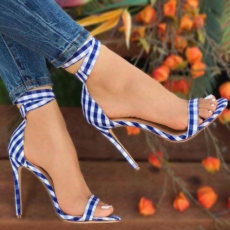 Sestito 2018 Marque Designer Chaussures Femme Élégant Vichy À Lacets Talons Hauts Ankle Strap Sandales Dames Peep Toe Couverture Talons Chaussures
