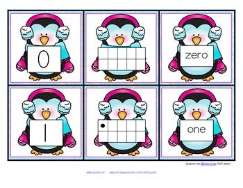 FREE This is a set of number cards with a Winter theme, 0-10. Three cards for each number - the number, a ten-frame representation, and the number word. Use for recognition, sequence, memory games, hiding and finding games, and of course, matching. 6 pages