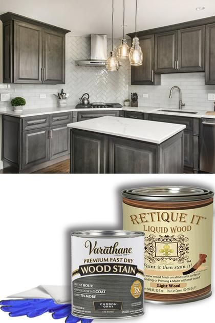 Carbon Gray Stained Kitchen Cabinets Kitchen Cabinets Makeover Staining Cabinets