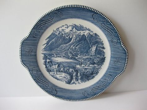 Vintage Royal Currier & Ives Rocky Mountains Blue by thechinagirl