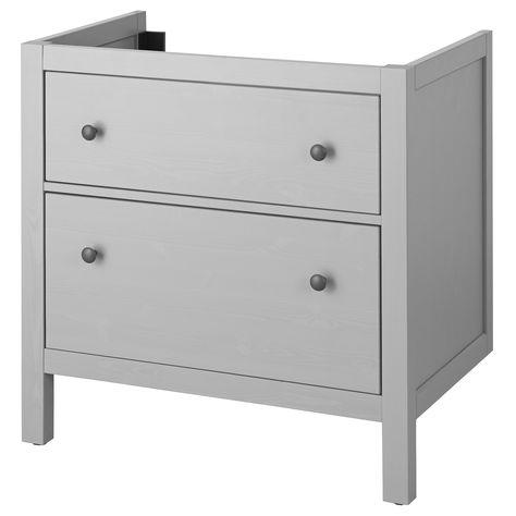 Ikea Hemnes Gray Sink Cabinet With 2 Drawers In 2020 Hemnes
