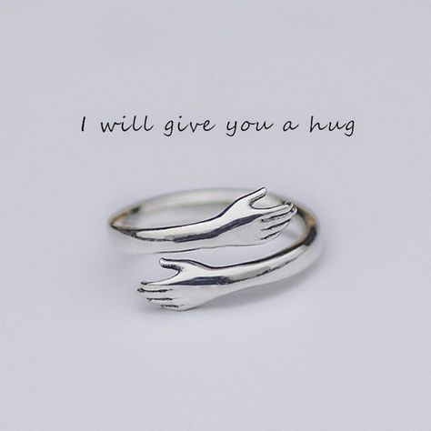 2 pcs Embrace the ring with both hands,Silver Love Hugging Hand Stackable Ring, Love Hug Ring, Couple Ring, Cute Design Ring, Lady Open Ring by craftsstores on Etsy