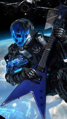 Sci-Fi, Skull, Astronaut, Electric Guitar, 4K, HD Mobile and
