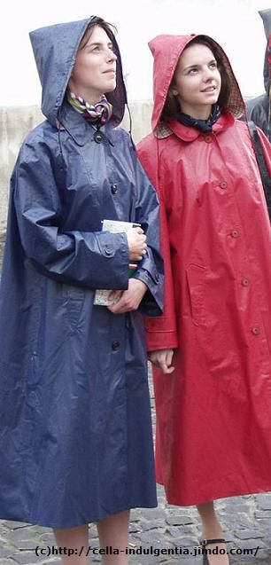Grey and Red Rubber Hooded Raincoats
