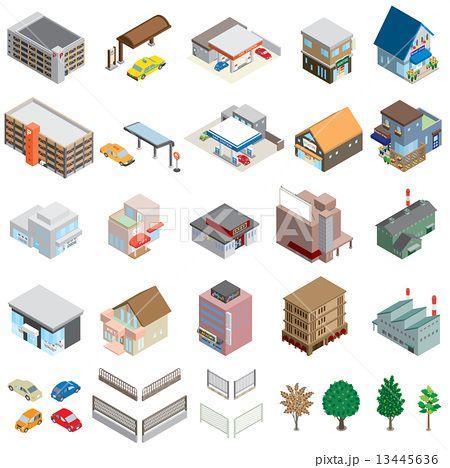 様々な建物 立体図 建物 イラスト イラスト 図