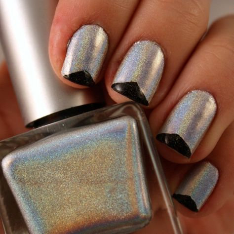 Triangle tips over silver holographic polish