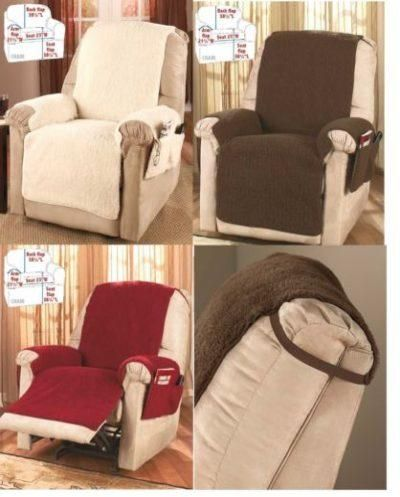 Fleece Recliner Armchair Chair Cover Protector Storage With 4 Pockets 3 Colors Reclining Armchair Recliner Cover Recliner