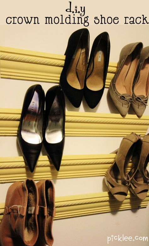 Crown molding shoe rack... Who would have thought to repurpose molding. Such a great space saver!
