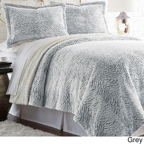 3 Pieces Fur Bedding Set Shaggy Fluffy Duvet Cover Velvet Ultra Soft Microfiber Solid Color Grey Fluffy Duvet Fluffy Bedding Duvet Covers