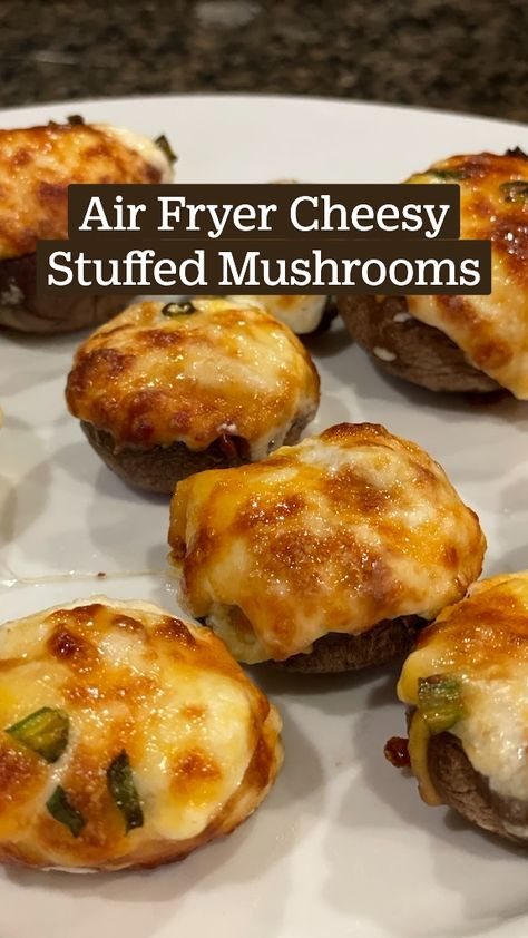 Air Fryer Cheesy Stuffed Mushrooms - Simple Vegetarian Dinner Side Dish