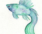 Seahorse/ watercolor print/teal/light by kellybermudez on Etsy. $18.00, via Etsy.