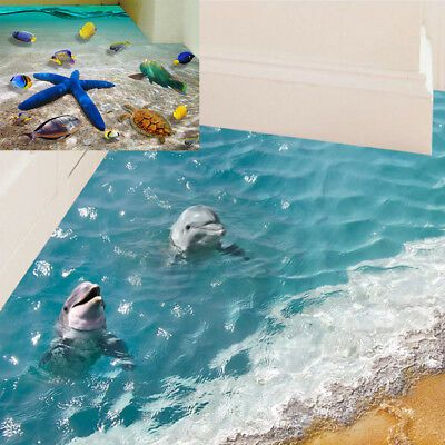 Floor Stickers 60 90cm 3d Dolphin Waterproof Bathroom Starfish Wall Sticker Fos In 2020 Floor Stickers Diy Wall Stickers Wall Sticker