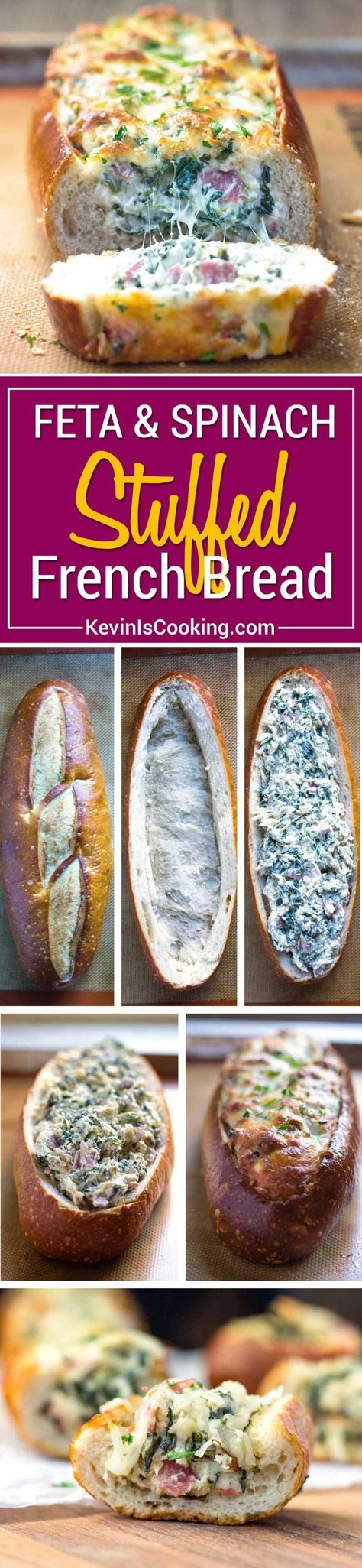 This easy, cheesy, creamy feta and spinach stuffed french bread is deliriously rich and tasty. It reminds me of a Greek spanakopita but all stuffed inside a wonderful sourdough bread loaf. Perfect hand held appetizer for parties or the holidays!