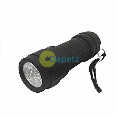 9 LED Bright Flashlight Mini Small Torch Travel Camping Hiking Rubber