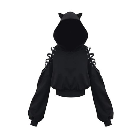 Cat Ears Lace Up Short Hoodie Black - Cat Ears Lace Up Short Hoodie Black Sourc. - Cat Ears Lace Up Short Hoodie Black – Cat Ears Lace Up Short Hoodie Black Source by BitchingWitchingHour – Teen Fashion Outfits, Edgy Outfits, Cute Casual Outfits, Cosplay Outfits, Anime Outfits, Emo Fashion, Cute Fashion, Fashion Women, Lolita Fashion
