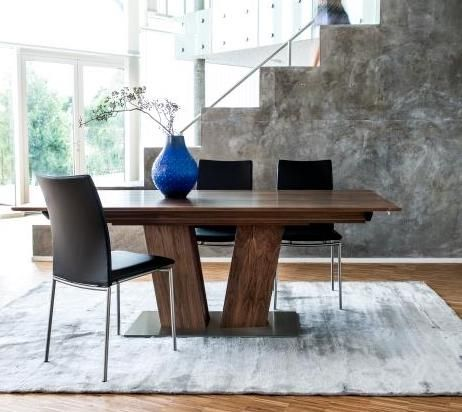 The Lea Dining Table From Denmark Features A Modern Design With A Sculptural V Shaped Base This Inno Walnut Dining Room Dining Table Contemporary Dining Table
