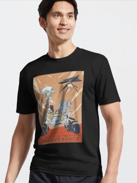 Space T-shirt featuring an original illustration of the mars rover Perseverance and its helicopter Ingenuity. A great gift idea for space enthusiasts!  #marslanding #nasa #marsrover #perseverancerover #curiosityrover #nasarover #spacegifts #spacegiftideas #nasagiftsforhim