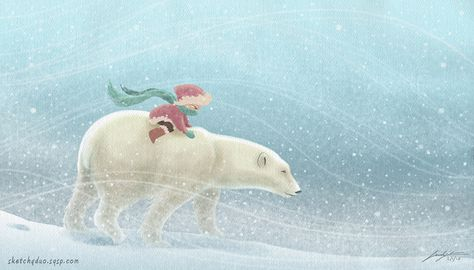 New artwork inspired by today's blizzard. #winter #blizzard #illustration #Photoshop #snow #bear #polarbear #drawing