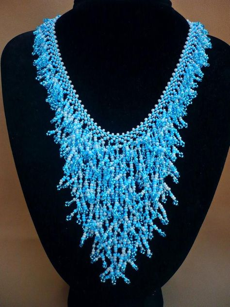 Blues XIII romantic jewelry bohemian style Unique blue peyote stitch necklace statement necklace tassels wearable art