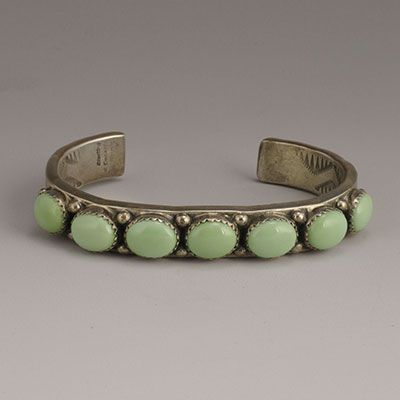 Sterling Silver Cuff with Matched Variscite Oval Cabochons