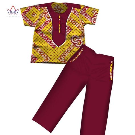 01ecaef22 2017 Boys Clothes African Dashiki Kids Clothing Short Sleeves Plus Solid  Color Long Pant for Children WYT116 1