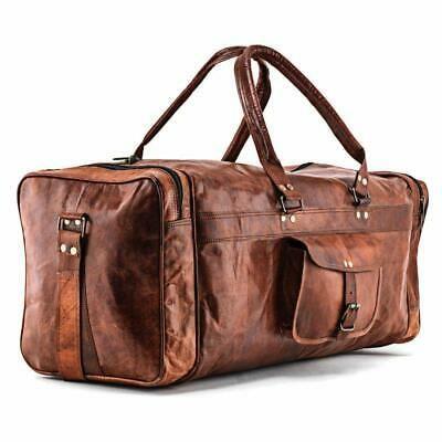 "25/""New Large Vintage Men Real Leather Tote Luggage Bag Travel Bag Duffle Gym Bag"