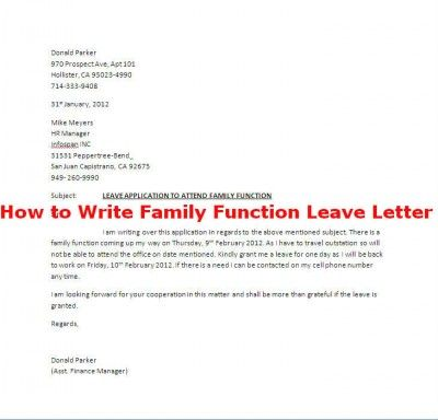How to Write Family Function Leave Letter Careers \ Jobs Pinterest - Application For Leave Format