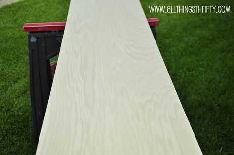 How to: Tinted White Wash finish using watered down latex paint (any color) and sealed with Minwax Polycrylic.  Tutorial