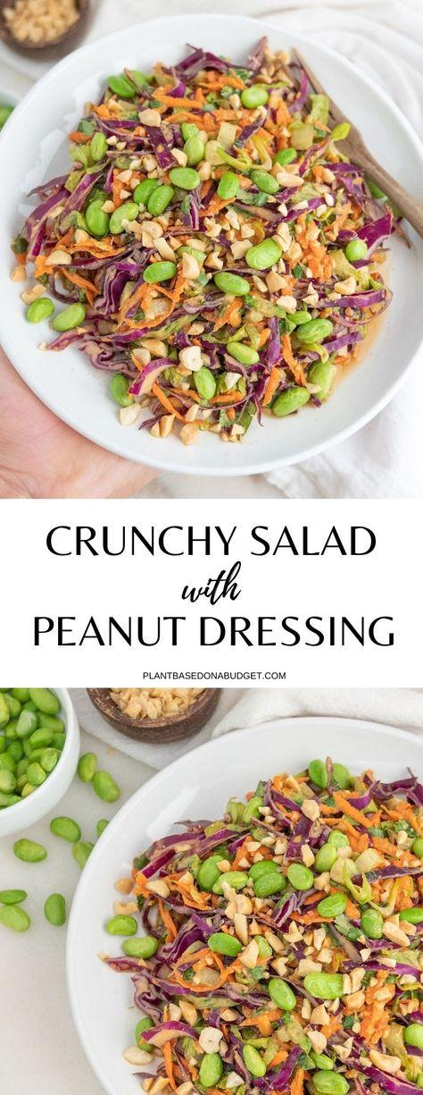 Fresh Crunchy Salad with Peanut Dressing   Plant-Based on a Budget   #crunchy #salad #vegan #peanut #dressing #plantbasedonabudget