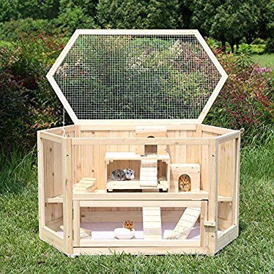 Songmics Xl Large Wooden Hamster Cage Rodent House Deluxe Villa For Small Pet Animal 99 X 55 X 55 Cm Phc003 Amazon Co Uk Kitc Hamster Hamster Cage Small Pets