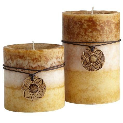 Pier 1 Vanilla Crème 3-Color Pillars are rich in fragrance