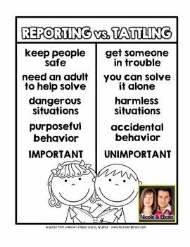 30 Tattling Vs Reporting Activities Ideas School Counseling Classroom Behavior School Counselor