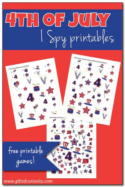 Free 4th of July I Spy printables | Patriotic I spy games for 4th of July || Educational printables for 4th of July | #freeprintable #ISpy #4thOfJuly #IndependenceDay #giftofcuriosity || Gift of Curiosity