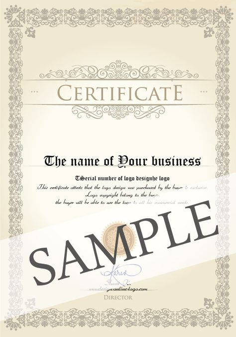 Logo design license u2013 Certificate Every customer who purchases one - certificate of origin sample