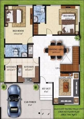 Image Result For House Plan 20 X 50 Sq Ft 2bhk House Plan House Layout Plans House Layouts