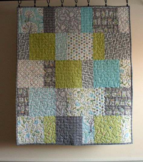 modern baby boy quilt in green blue and grey